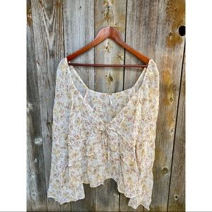 FREE PEOPLE floral bell sleeve vneck blouse